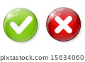 Red and Green Check Mark Icon Button Vector Illustration 15634060