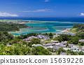从Santogundoba的冲绳Uruma市视图美丽的海 15639226