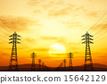High Voltage Electric Poles in the Sunset Sunrise 15642129