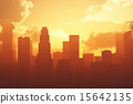 Smoggy Metropolis in the Sunset Sunrise 3D artwork 15642135