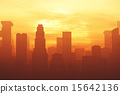 Smoggy Metropolis in the Sunset Sunrise 3D artwork 15642136