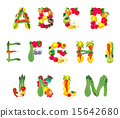 Alphabet composed by fruits and vegetables 15642680