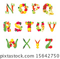 Alphabet composed by fruits and vegetables 15642750