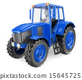 3D white people. Man driving a tractor 15645725