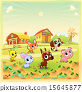 Funny farm animals in the garden 15645877