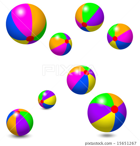 Eight Colorful Beach Balls 15651267