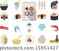 Japanese seafood menu flat vector icons 15651427