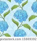 Seamless pattern with hydrangea 15669392