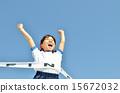 푸른 하늘로 달리는 소녀 (체육복, 골 테이프) 15672032