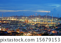 Oil refinery with beautiful sky background 15679153