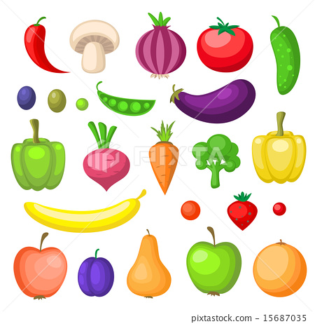 Fruits and vegetables icons 15687035