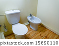 white porcelain bidet and toilet wc. 15690110