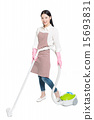 chinese young woman with a vacuum cleaner 15693831