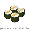 Fried Egg Sushi Roll or Tamagoyaki Maki on White 15700776