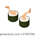 Ebi Tempura Sushi Roll or Fried Shrimp Maki 15700786