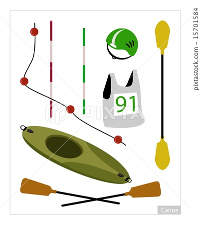 Stock Illustration: Set of Canoe or Kayak Equipment