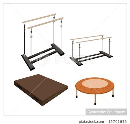 Set of Gymnastics Equipment on White Background 15701636