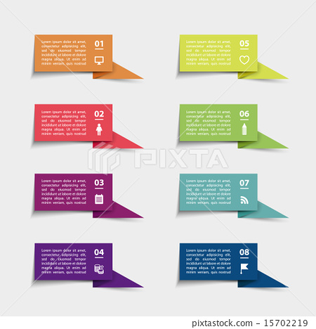 Stock Illustration: Vector paper flag stickers and labels with realistic shadows for infographic set.