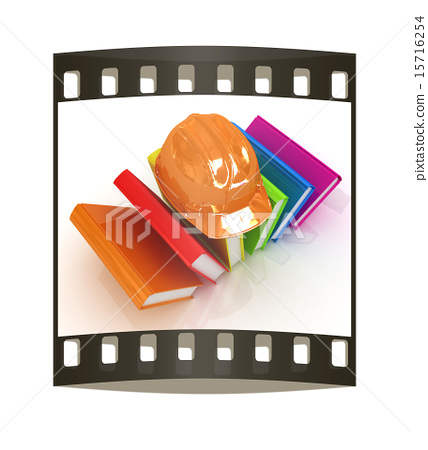 Colorful books and hard hat. The film strip 15716254