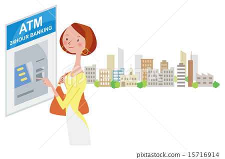 A woman dealing with ATM in the street corner 15716914