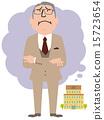 一名男子与老年人的西装遭遇与公司的麻烦 15723654