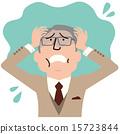 一个穿着老年人的男人触摸他的头 15723844