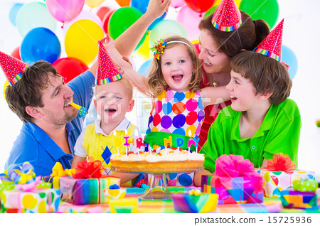 Stock Photo: Family celebrating birthday party