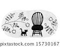 의자, 고양이, 흑백 15730167