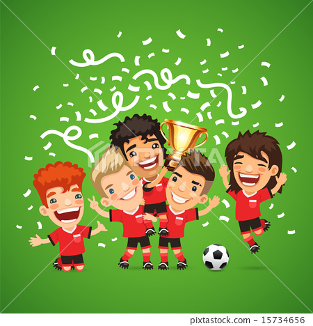 Happy Soccer champions with winners cup. 15734656