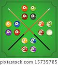 set of billiard balls, billiards, American with cue 15735785