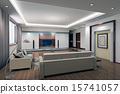 3d render modern interior of living-room 15741057