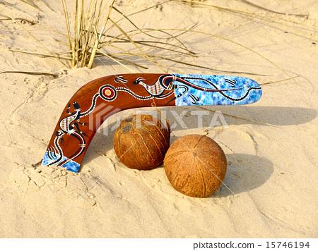 Boomerang and coconuts. 15746194