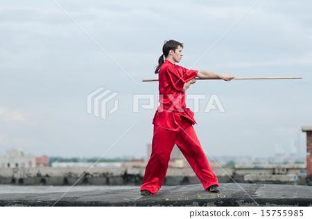 Wushoo man in red practice martial art 15755985