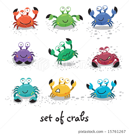 Cute crabs, funny characters. Vector illustration 15761267