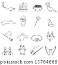 black simple fairy tales outline icons set eps10 15764669