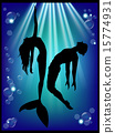 mermaid, underwater, silhouette 15774931