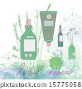 Herbal medicine illustration with bottles 15775958