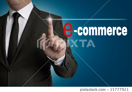 e commerce touchscreen is operated by businessman 15777921
