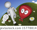3d Human playing with toy baloon 15778814