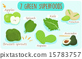 seven green foods you should  be eating vector ill 15783757
