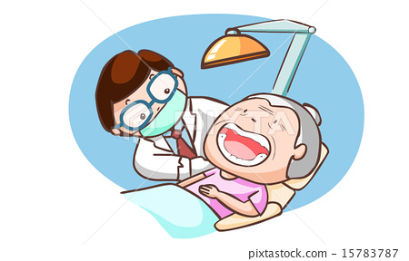 dentist treat grandmother in the clinic vector 15783787
