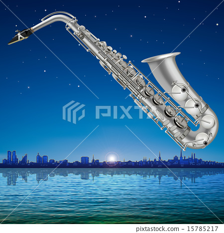 abstract background with Tallinn and saxophone 15785217