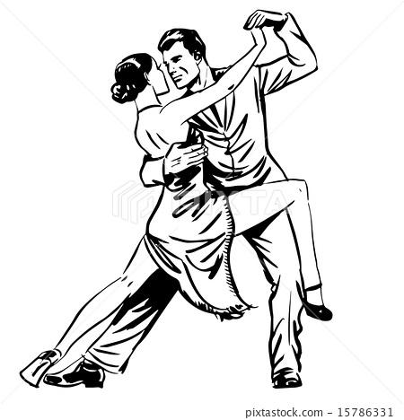 Man and woman dancing couple tango retro line art 15786331