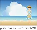 여름의 해변과 원피스를 입은 소녀 15791291