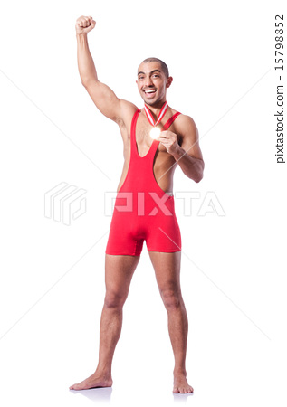 Young wrestler isolated on the white 15798852