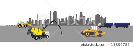 Construction Machinery in the City. Vector Illustration. 15804785