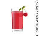 Juice in Glass with Two Cherries Isolated on White 15808404