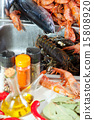 fresh raw seafoods and  spices 15808920