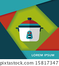 kitchenware rice cooker flat icon with long shadow,eps10 15817347