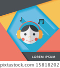 Music flat icon with long shadow,eps10 15818202
